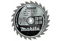 Пильный диск Makita Specialized, 136x10 мм 24T B-09139
